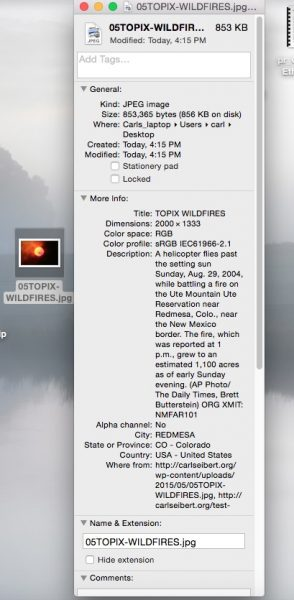 Caption displayed in Mac OSX
