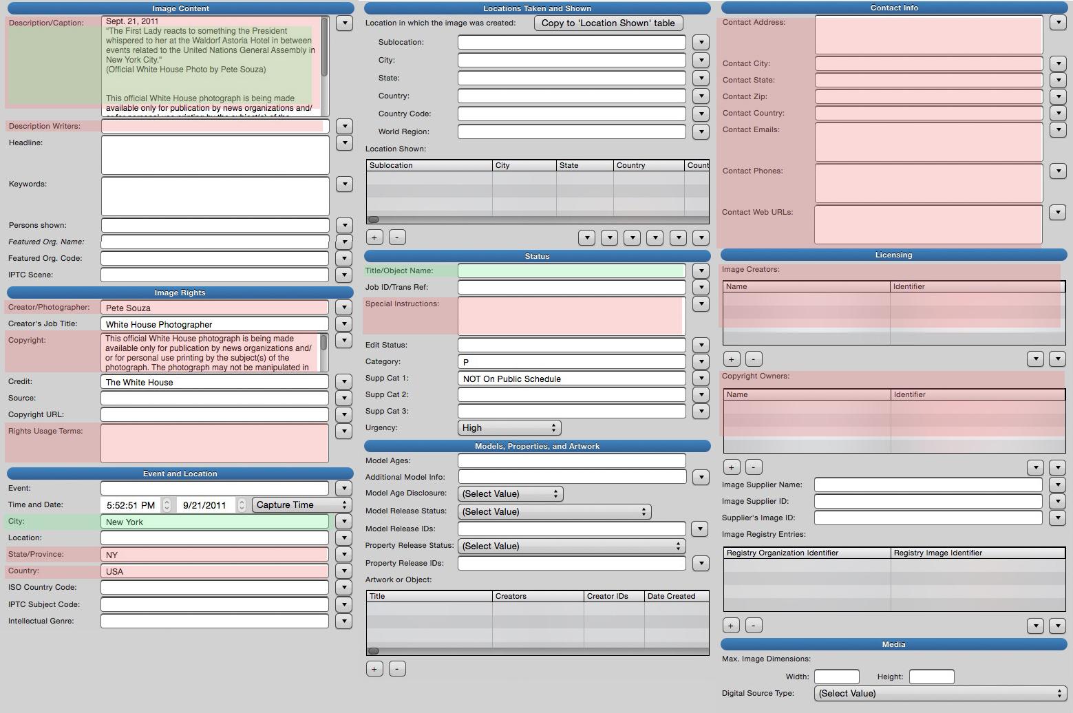 IPTC fields guide