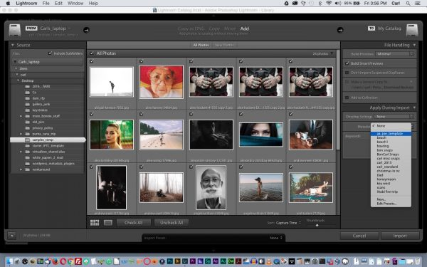 Apply a metadata template to all the photos in a batch on Import.