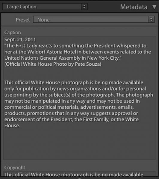 Metadata on a Pete Souza photo of the U.S. President