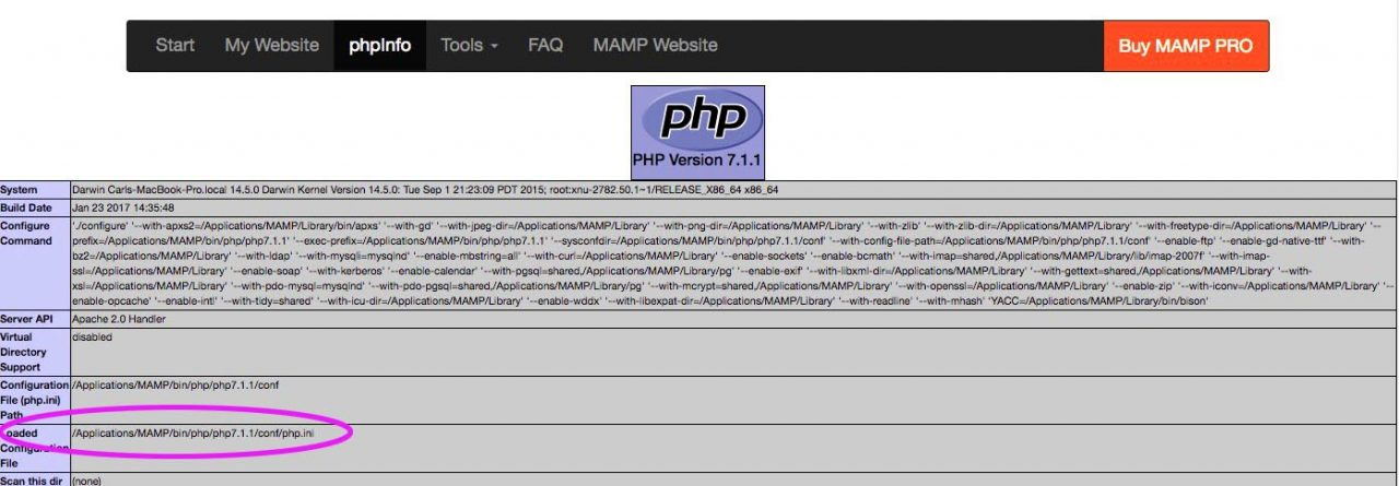 In php.ini, look for the loaded php.ini
