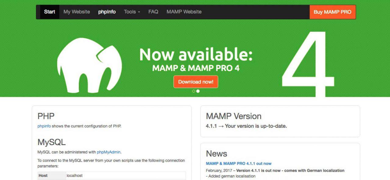 MAMP webstart page