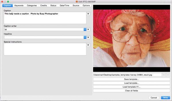 Edit IPTC-IIM/XMP dialog