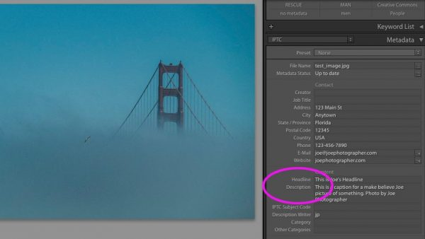 """Description"" in Lightroom"