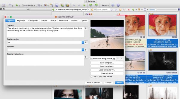 Captioning photos in XnView