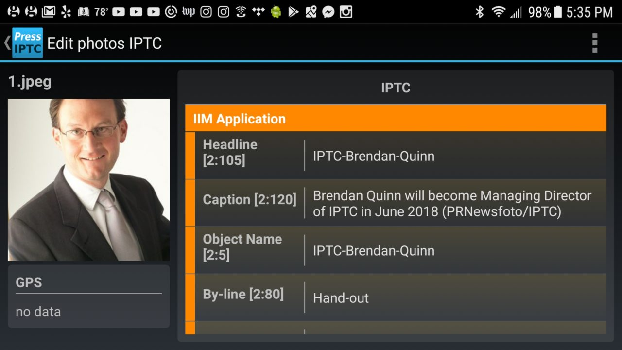 Brendan Quinn headshot as seen in a metadata editing application.