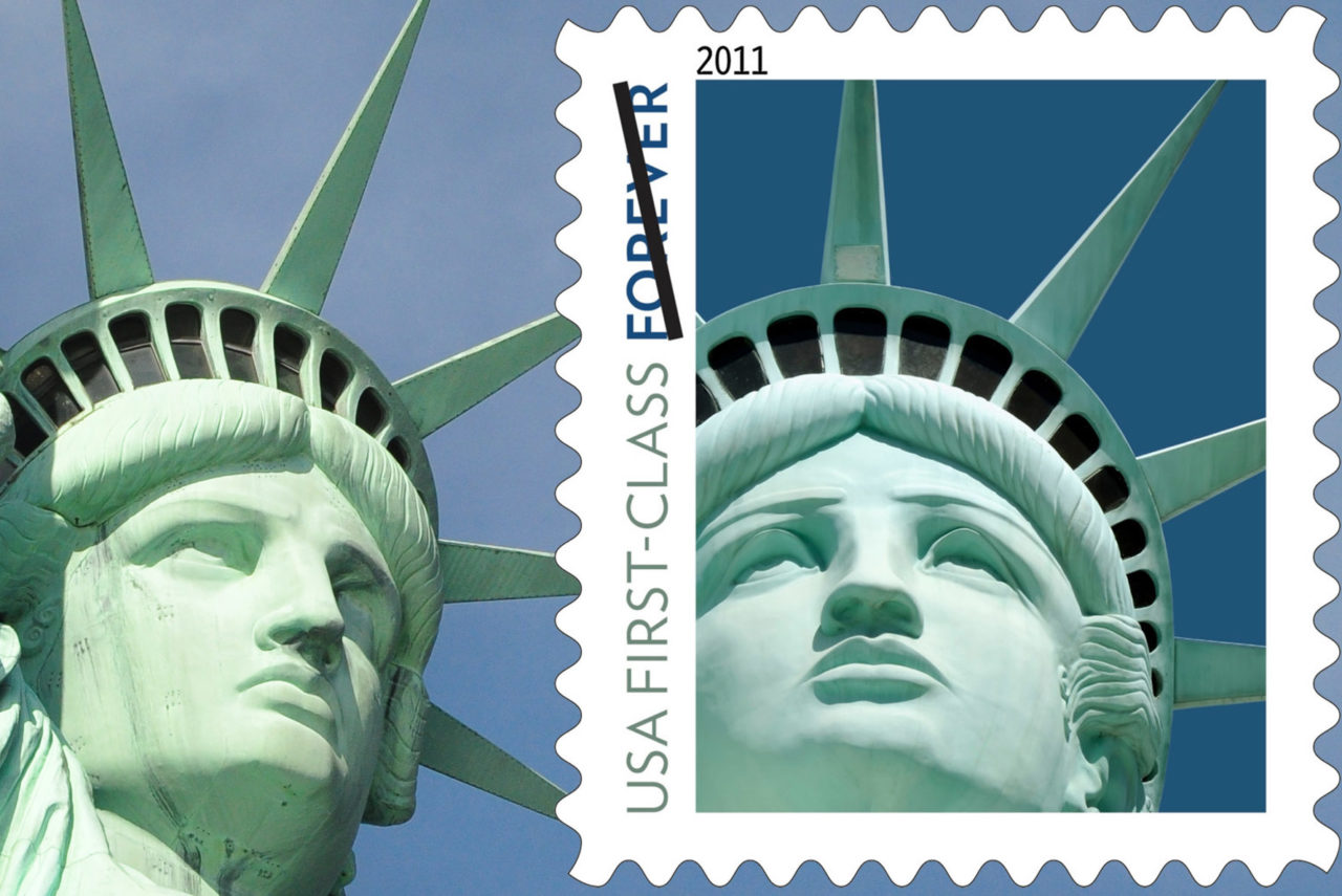 The real Statue of Liberty and the copyright infringing stamp, which shows a replica