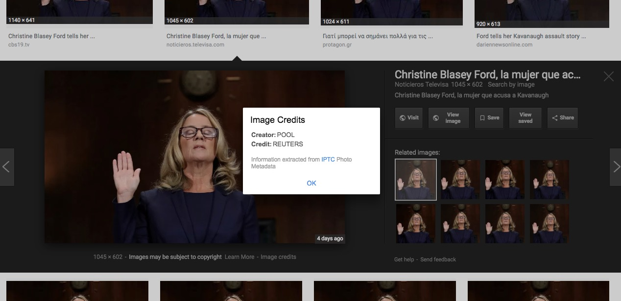 Image Credits popup displayed on a news photo on Google Images