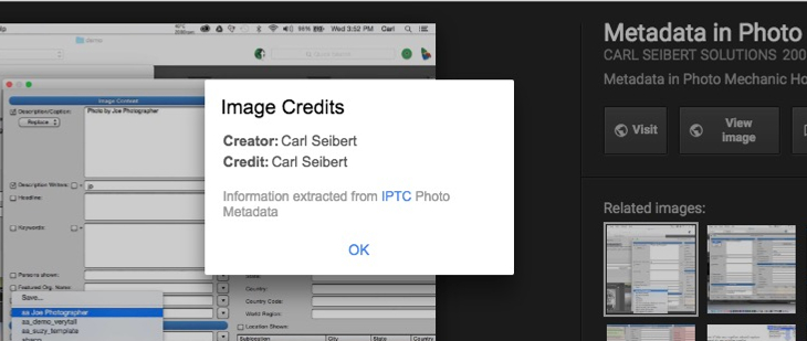 The Credit line field as it appears on Google Images