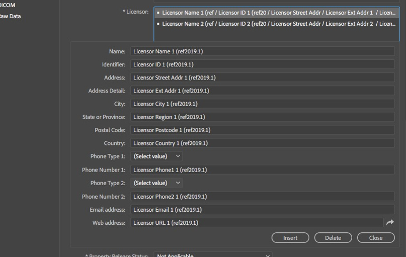 Licensor sub fields as seen in Photoshop