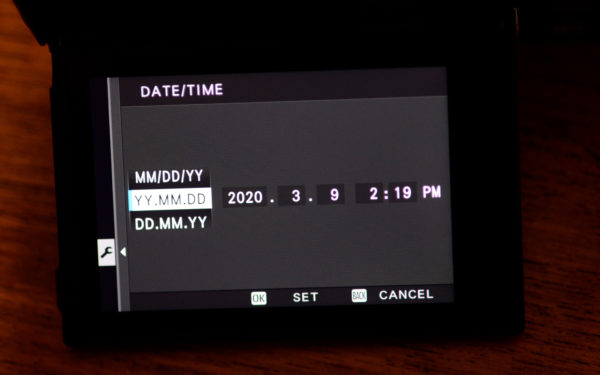 Set-time menu item on Fuji camera