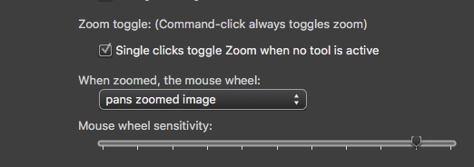 Zoom preferences in Photo Mechanic