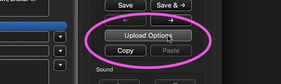 "The ""Upload Options"" button"
