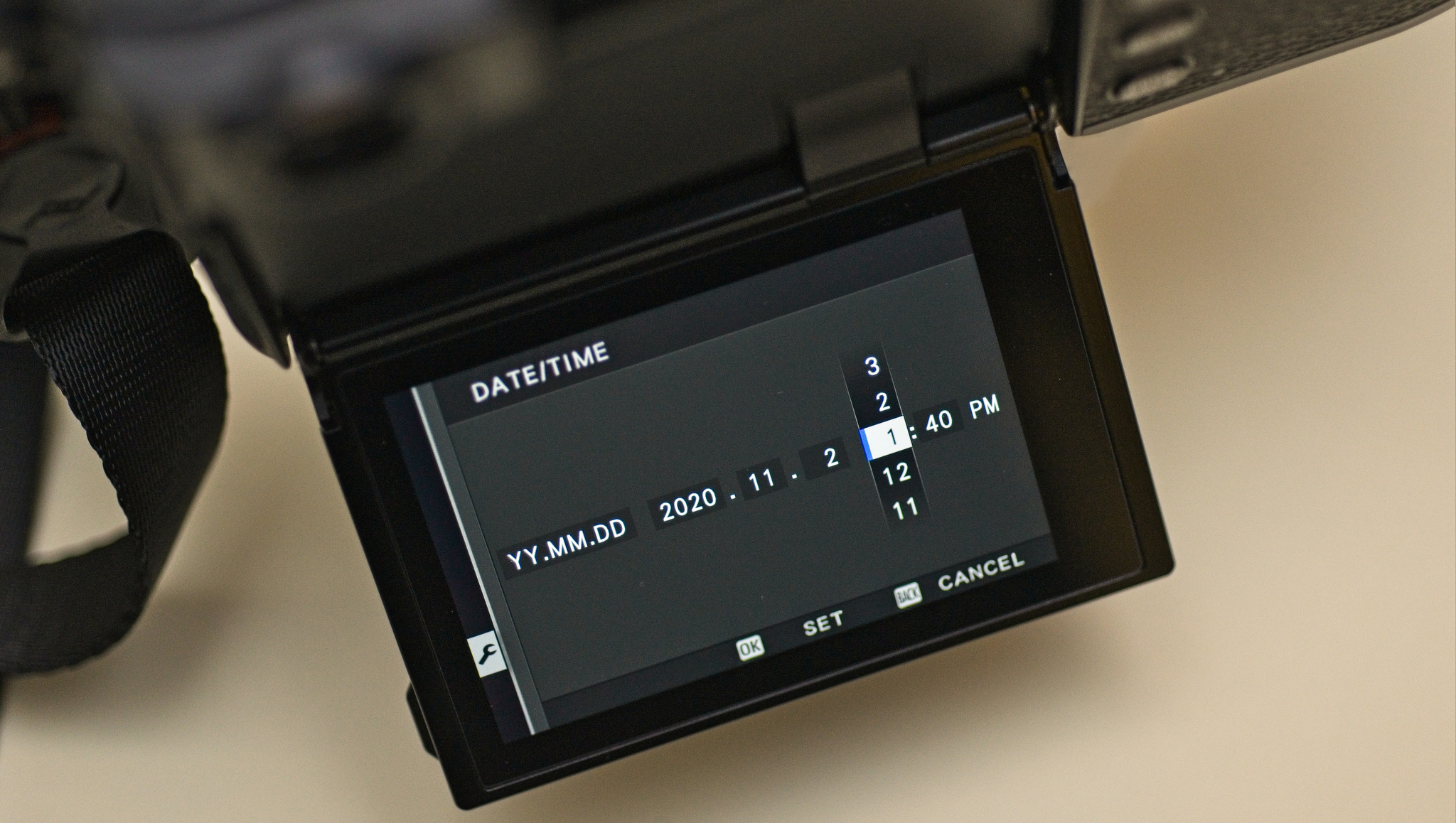 Setting the camera clock time in the Date and Time menu item on a Fijufilm X-Pro3